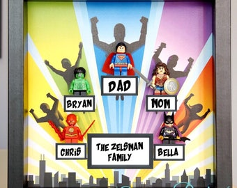 Superman, Spider-man, Iron Man, Lego, Superhero, gift, superhero family lego minifigures, father's day gift, anniversary, inspired by LEGO