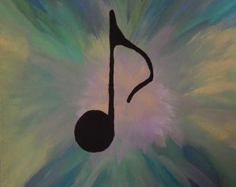 Tie dyed musical note