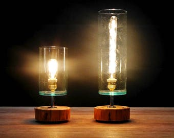 Cypress and blown glass lamp