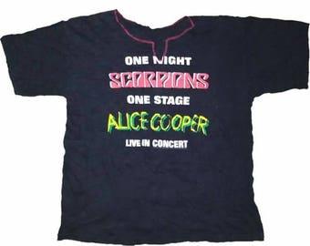 RARE! Scorpions X Alice Cooper Concert Tour Shirt 1996
