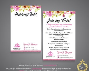 Personalized Join my team, Paparazzi Join with us card, Paparazzi Personalized Card, Paparazzi Floral  Flower Card, Digital file PP12