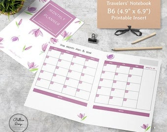 B6 Monthly Insert Printable, TN Inserts B6, B6 Planner, Undated Monthly Insert, Month on Two Page Printable, Monthly TN Insert, B6 Refills