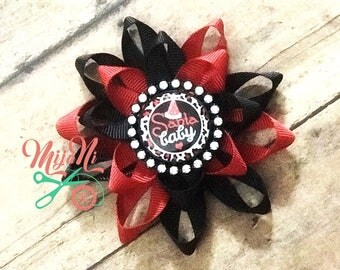 Santa Baby - Santa Claus - Christmas - Holiday - Loopy Flower Bow - Hairbow - Rhinestone - Bling - Cameo - Red - Black - Clip - Barrette