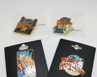 Lot of 4 Vintage Planet Hollywood Fashion Pins Collectable Collectors