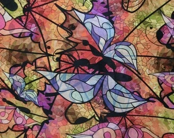 Digital Window butterfly printed faux silk satin fabric material for dressmaking and Decor by the meter YGST-5020