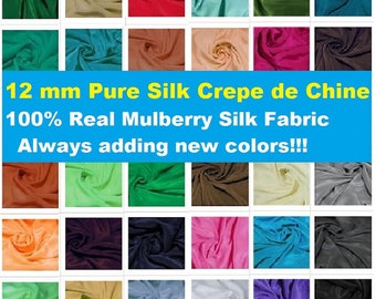 "Pure Mulberry Silk 45"" wide 12mm 12momme 100% Mulberry Pure Silk Crepe De Chine  By the Yards  or Metre Fashion Dress Material Online"