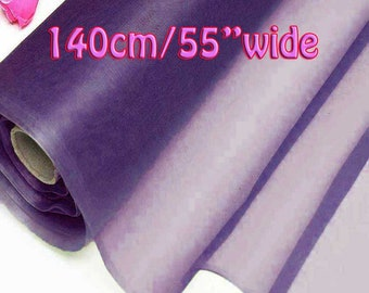 140cm Wide Sunset Purple 100% Real Mulberry Silk Organza Fabric Natural Silk Material (QI Za 20029W X Yards / Meters) Light Weight