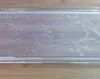 Vintage Arcoroc France Glass serving scale dish serving tray with flower decoration