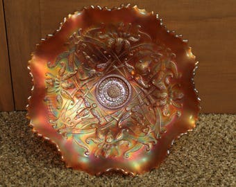 "Vintage Northwood ""Wishbone"" Carnival Glass in Marigold"