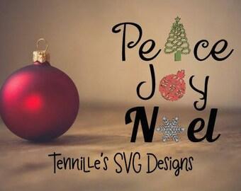 Peace Joy Noel SVG, Christmas, Peace, Joy, Holiday, SVG, Cricut, cut file