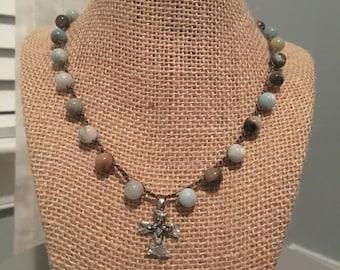 Crocheted amazonite necklace