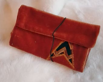 Tobacco case , Brown plush fabric| Rolling Tobacco Pouch| Bolsa para Tabaco de liar | gifts for smokers, smoking accesories
