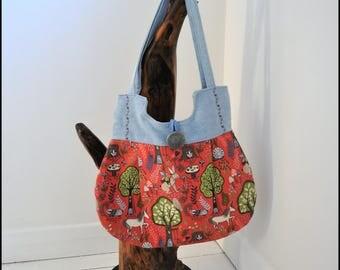 Hobo Bag, Fabric bag, Hand bag, Unicorn bag, Handmade bag, Wodland bag, Shoulder bag, Gift for Her, Mothers Day Gift, Tote bag, Ladies bag,