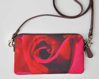 Canvas Clutch, Canvas Clutch bag, Canvas Bag, Canvas handbags, Canvas tote with leather strapes, Red Canvas Bag