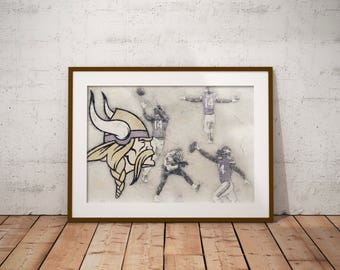 Stefon Diggs, Game Winning TD Catch. Minnesota Vikings, Art Print, NFL art, Man cave, wall art