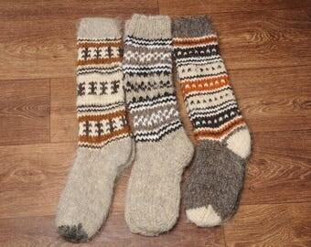 Natural wool socks, woolen knee socks, hand knitted socks, warm high socks, hand knit hosiery, winter socks, Christmas socks, gift idea