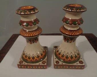 Ukrainian Art Ceramic Candlesticks