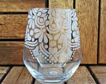 Ornament glass etched big
