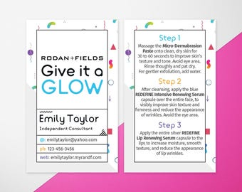 Rodan and Fields Give It A Glow, Rodan + Fields Mini Facial Cards, R+F Facial Instructions, RF Business Cards Size, Mini Facial, Personalize