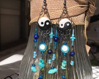 Yin and yang dangle earrings with turquoise and lapis lazuli
