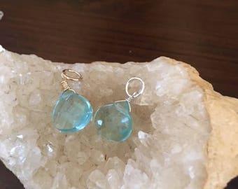 Blue Quartz Wire Wrapped Pendant/Dangle,sterling silver, gold fill, blue quartz necklace,blue pendant, blue dangle, quartz dangle,