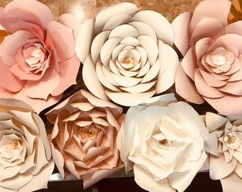 Handmade Paper Flowers, Paper Floral Back Drop, Paper Flower Bouquet, DIY, Rose Gold, Champagne Flowers, Photobooth