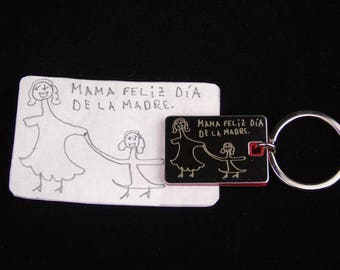 Drawing engraved keychain