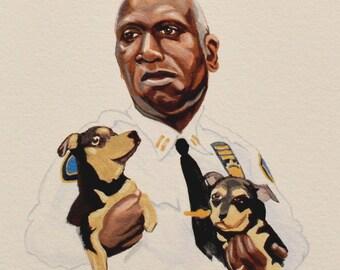 CAPTAIN HOLT, Brooklyn Nine-Nine, Andre Braugher Celebrity Portrait w/ Small Dogs, TV Show Art, Giclee Fine Art Print of Gouache Painting