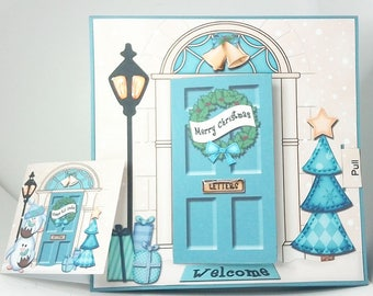 Opening door Christmas Card