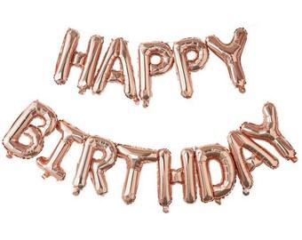Pick & Mix Rose Gold 'Happy Birthday' Balloon Bunting - 1.5m - Rose Gold balloons-Happy Birthday