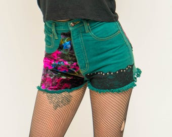 Heather Vintage denim shorts ONE of a KIND refurbished green denim size 8