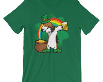 Funny Dabbing Leprechaun Basset Hound T-Shirt, St Patricks Day Shirt