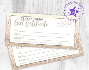 Rodan and Fields Personalized Gift Certificate Rodan + Fields Custom Gift Card Design Digital Download Printable Gold Glitter & Blush Pink