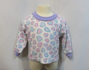 Vintage 80s Baby Girl Retro Top Shirt Hearts 12 M 12 Months Novelty Print