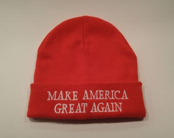 Donald Trump Beanie Make America Great Again US President Embroidered Toque Winter Hat