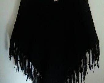 Vintage black crochet poncho size All