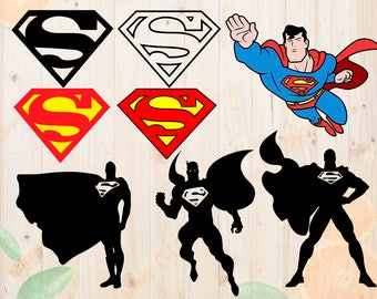 Superman Svg, Superman Cutfiles: Svg, Dxf, Eps, Png files,Layered superman svg for Cricut, Silhouette cameo. Superman clipart, Superman dxf
