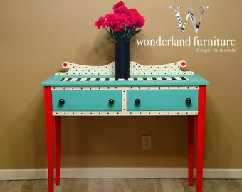 SOLD-Whimsical Painted Buffet Console