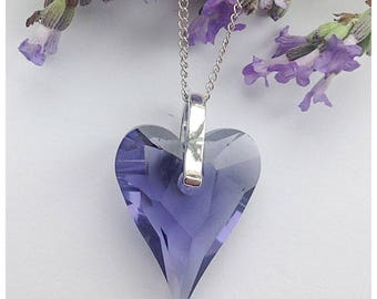 Striking Sterling silver necklace made with Swarovski Wild Heart crystal in 'Tanzanite'