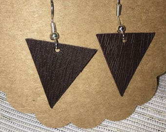 Small Triangle Leather Earrings