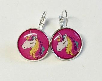 Fuchsia Unicorn cabochon earrings