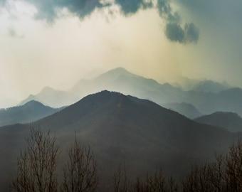 Appalachian Winter Rain -Landscape Photography, Moody Landscape, Mountains, Rain, Clouds, Wall Art, Printed Art, Appalachian Rain,Nature Art