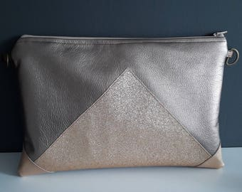 Taupe faux pocket and glitter gold