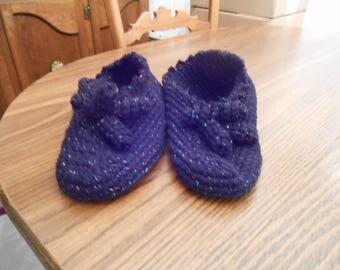 New HANDMADE Crocheted Sparkling Black Slip-on Slippers (Size 8.5)