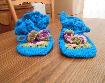 New HANDMADE Crocheted Teal Blue and Multi Colored Slippers (Size 7)
