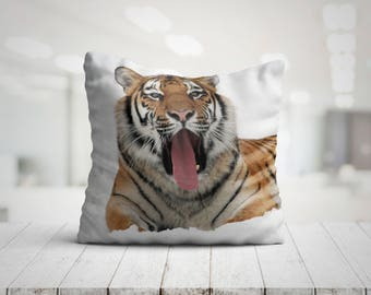 Yawning Tiger Best Pillow Gifts, 18x18 Throw Pillow with Tiger, Tiger Lover Gift, Animal Gifts For Her, Made in USA
