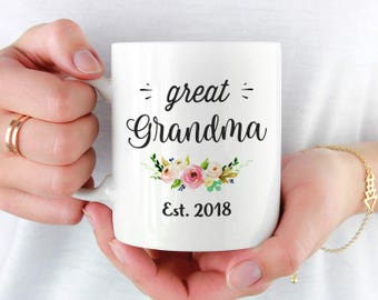 Great Grandma Est 2018 Mug, Gift for New Great Grandmother, Great Grandma to Be Gift, Baby Pregnancy Announcement Mug, Pregnancy Reveal Mugs