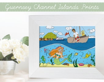 Guernsey Channel Islands Print, Bailiwick of Guernsey Prints, Channel Islands Prints