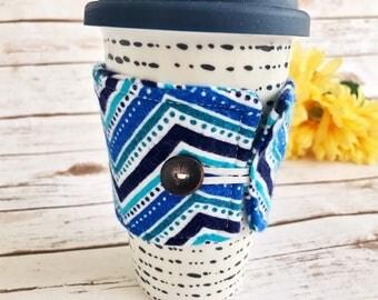 coffe cozy sleeve - blue chevron