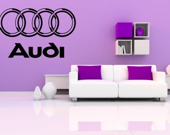 Audi logo car dealership garage sticker vinyl decal wall art  Man Cave Gift Idea
